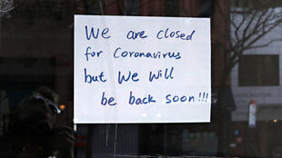 A sign in a restaurant window during the COVID-19 pandemic on April 21, 2020 in New York City.