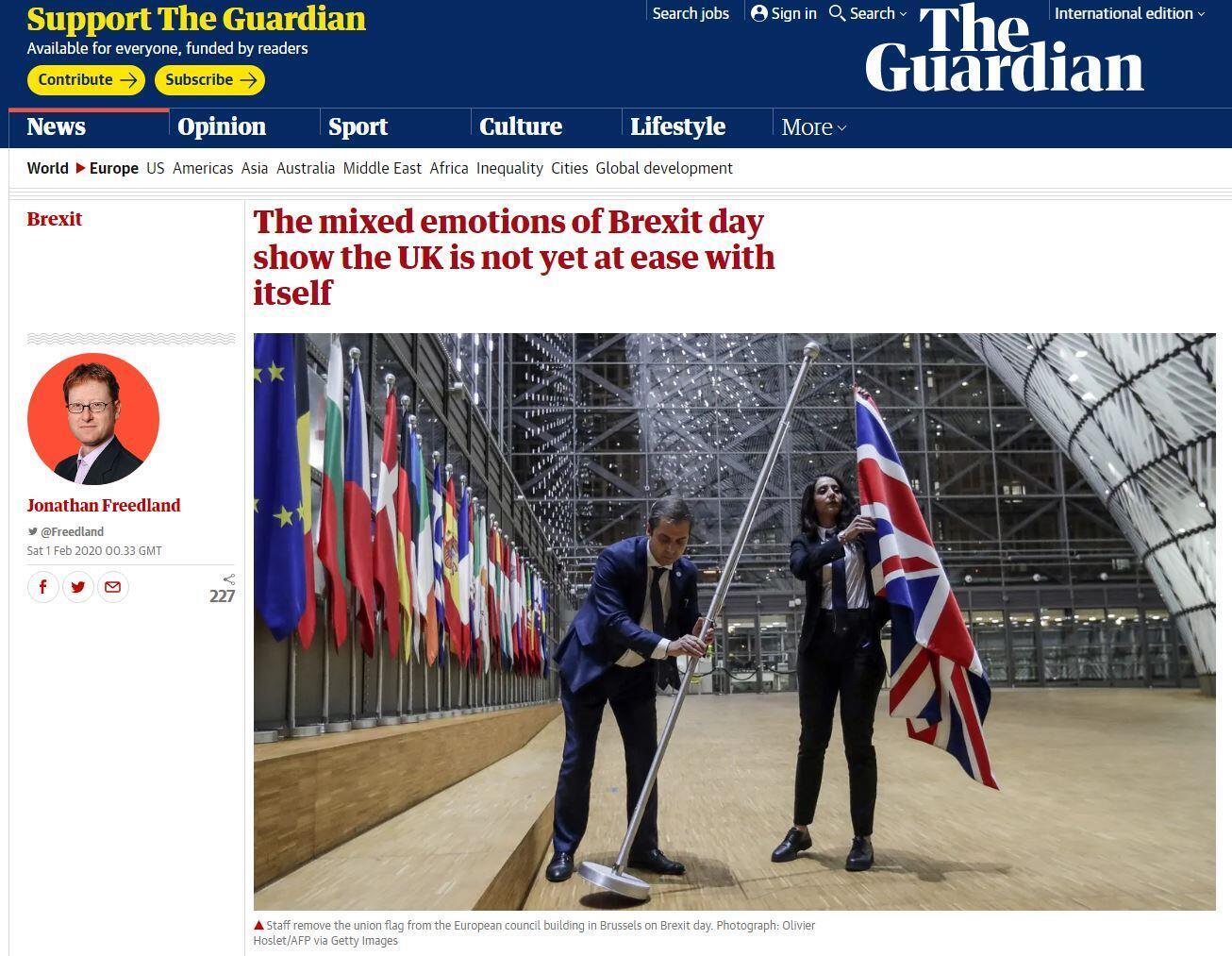 صورة ملتقطة من صحيفة ذا غارديان البريطانية، السبت 01 فبراير/ شباط 2020