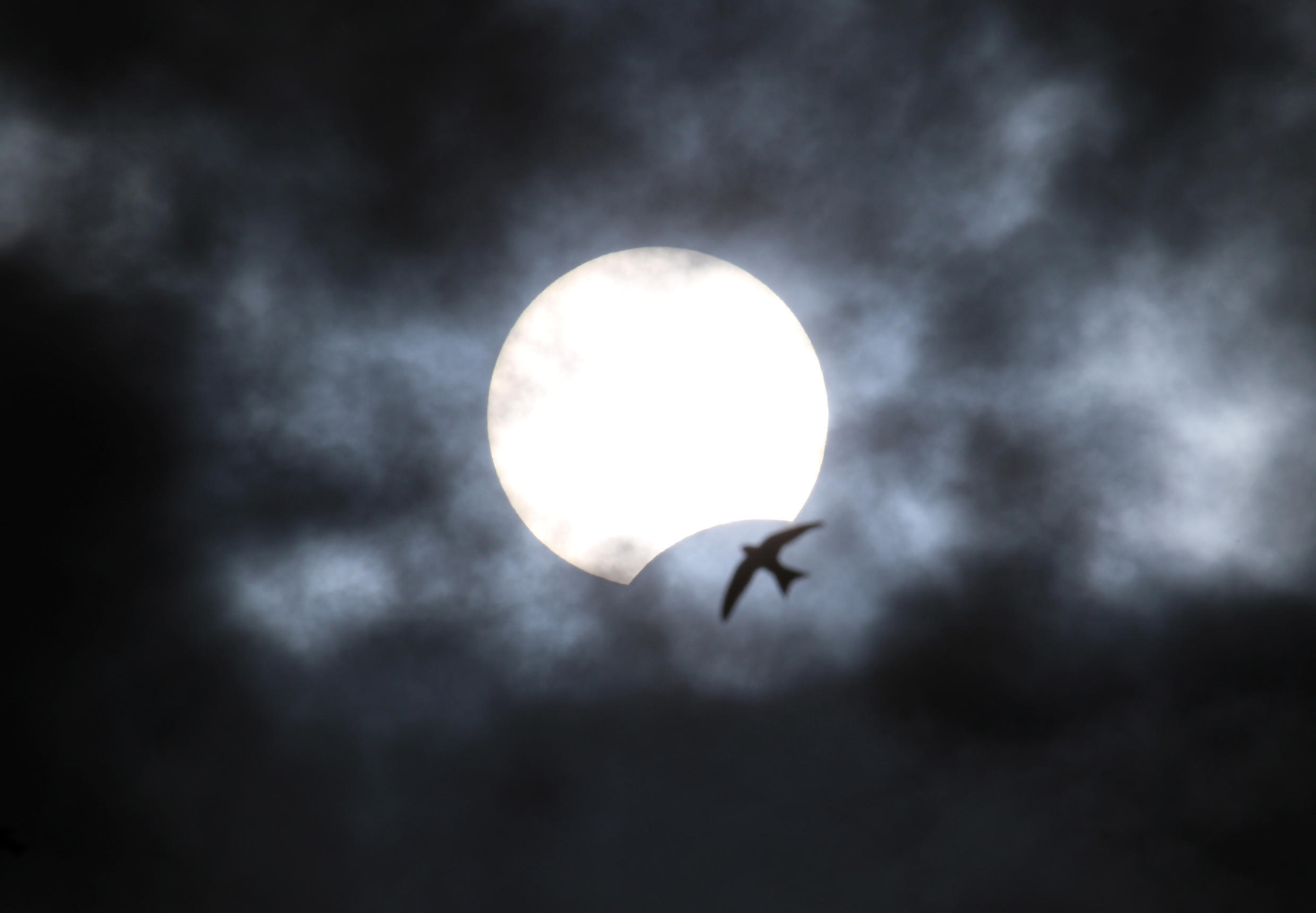The partial solar eclipse as seen from Yevpatoria, Crimea, on June 21, 2020.