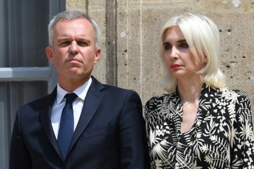 François de Rugy et son épouse Séverine Servat, le 17 juillet 2019, à Paris.