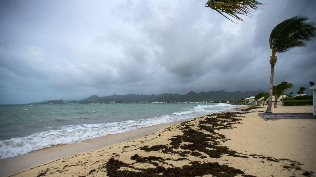 Une plage de Saint Martin peu avant le passage de l'ouragan Irma.