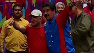 Imagen de archivo de Hugo Carvajal junto con el presidente venezolano Nicolás Maduro, tomada de un vídeo de AFP.