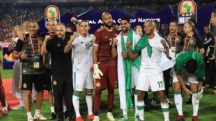 منتخب الجزائر خلال تتويجه بطلا لأمم أفريقيا في 19 يوليو/تموز 2019.