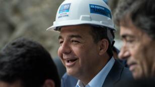 Sergio Cabral, en novembre 2013, pendant la visite du chantier d'un tunnel construit pour les JO de 2016.