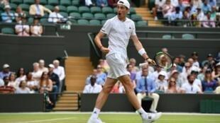 Le Français Ugo Humbert au tournoi de Wimbledon, le 8 juillet 2019