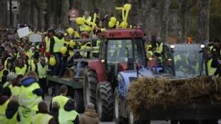 'Chalecos amarillos' protestan en Limoges, en el centro de Francia.