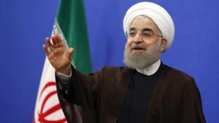 Le nouveau président iranien Hassan Rohani, lors d'un discours télévisé à Téhéran, le 20 mai 2017.