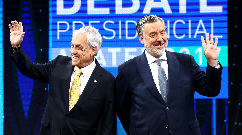 Sebastián Piñera y Alejandro Guillier acuden al último debate presidencial de Chile el 11 de diciembre de 2017