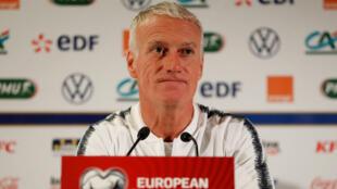 Didier Deschamps, sélectionneur des Bleus, en conférence de presse.
