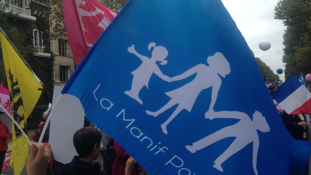 """Manifestation du collectif """"Manif pour tous"""" à Paris, le 5 octobre 2014."""