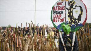 Un manifestant opposé au projet d'aéroport, le 8 octobre 2016, à Notre-Dame-des-Landes.