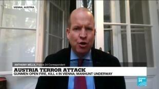 2020-11-03 12:01 Vienna attacker 'born in Austria' tried to flee to Syria, had previous terror conviction
