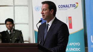 El representante de la Oficina de las Naciones Unidas contra la Droga y el Delito (Unodc) en Bolivia, Thierry Rostan, habla durante la presentación del informe de Monitoreo de Cultivos de Coca en La Paz, el 22 de agosto de 2018.