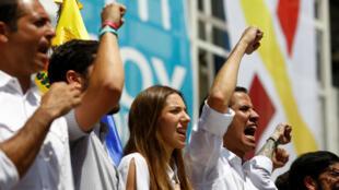 El proclamado presidente interino de Venezuela, Juan Guaidó, durante el acto de juramentación de voluntarios en Caracas. 16 de febrero de 2019.