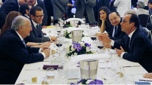 Roger Cukierman et François Hollande parmi les convives du 30e dîner du Crif, le 23 février 2015.