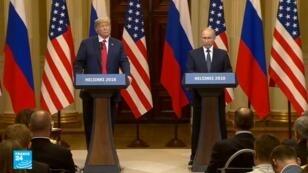 الرئيس الأمريكي دونالد ترامب  ونظيره الروسي فلاديمير بوتين في مؤتمر صحفي