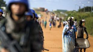 Des casques bleus de la Mission de l'ONU au Soudan du Sud (Minuss) à Juba, au Sud Soudan, le 4 octobre 2016.