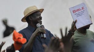 Le leader de l'opposition kényane, Raila Odinga, lors d'un rassemblement à Nairobi, le 3 septembre 2017.