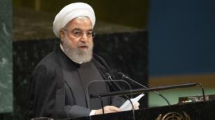الرئيس الإيراني حسن روحاني أثناء خطابه أمام الجمعية العامة للأمم المتحدة، 25 سبتمبر/ أيلول 2019