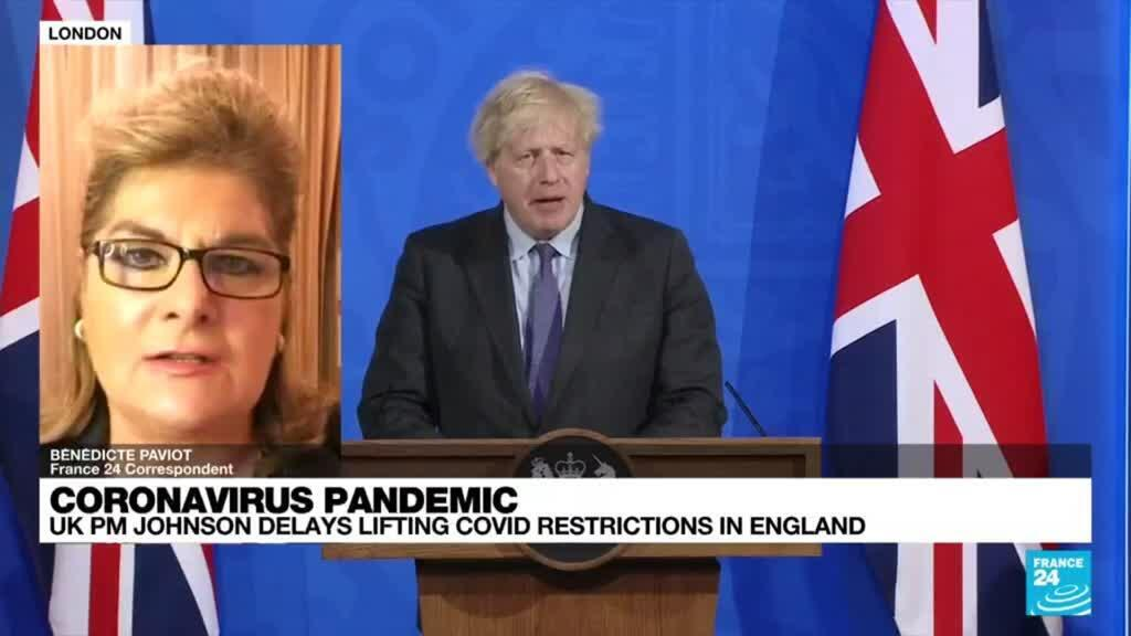 2021-06-14 21:02 UK's Johnson delays full lifting of virus restrictions, citing Delta variant risk