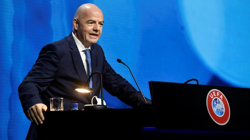 Fifa President Gianni Infantino speaks during the UEFA Ordinary Congress in Montreux, Switzerland, on April 20, 2021.