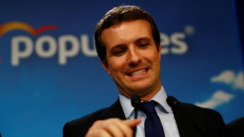 El candidato del Partido Popular (PP), Pablo Casado, habla después del conteo de los votos en las elecciones generales en Madrid, España, el 28 de abril de 2019.