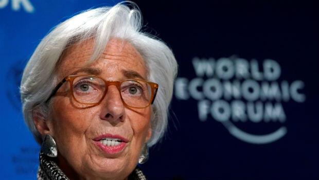 Christine Lagarde, la directora general del Fondo Monetario Internacional, durante una conferencia sobre las perspectivas financieras globales, en el marco del Foro Económico Mundial en Davos, Suiza, el 22 de enero.
