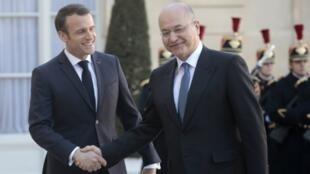 الرئيسان العراقي برهم صالح والفرنسي إيمانويل ماكرون. قصر الإليزيه 25 فبراير/شباط 2019.