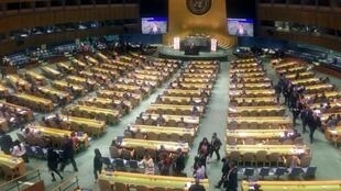 Diplomats leave the United Nations General Assembly in protest as Venezuelan Foreign Minister Jorge Arreaza starts speaking about multilateralism