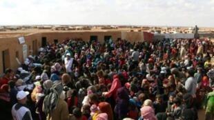 صورة وزعها الهلال الأحمر العربي السوري في 5 نوفمبر/تشرين الثاني لحملة تلقيح النازحين في مخيم الركبان