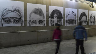 Pictures of medical workers taken by Brazilian photographer Thiago Santos at posted in a Sao Paulo subway station amid the COVID-19 pandemic