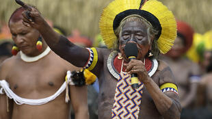 Raoni Metuktire addresses members of different Brazilian tribes in Piaracu village, Mato Grosso state, in January 2020