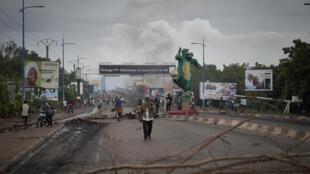 متظاهرون في باماكو في 11 تموز/يوليو 2020.