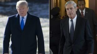 """الرئيس الأمريكي دونالد ترامب (يسار) والرئيس السابق للـ""""اف بي آي"""" روبرت مولر (يمين)"""