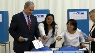 Le Premier ministre israélien Benjamin Netanyahou lors de la primaire du Likoud, le 31 décembre 2014.