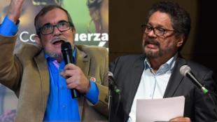 Rodrigo Londoño, excandidato presidencial y máximo líder del partido FARC (izq) e 'Iván Márquez', exjefe negociador de la antigua guerrilla (der).