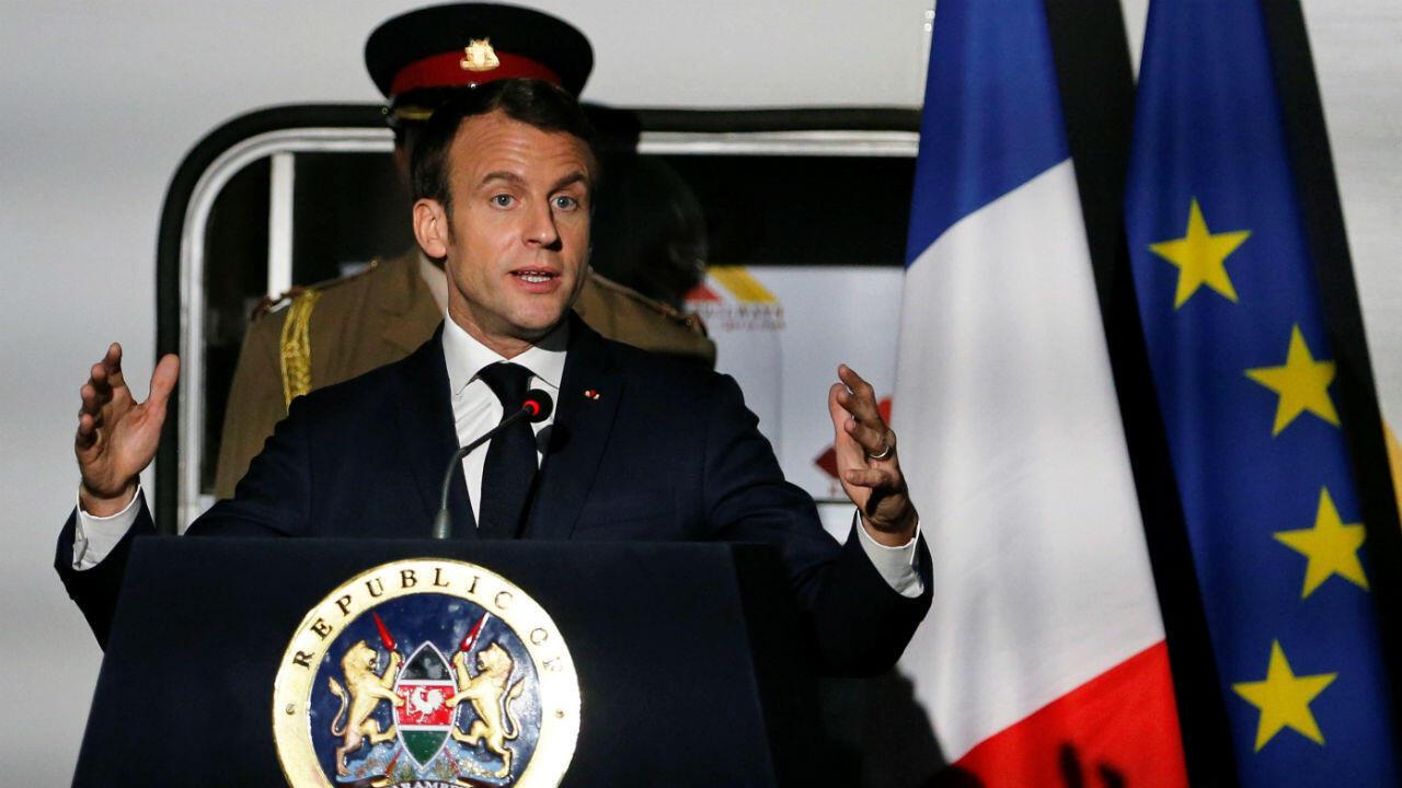 Le président Macron lors d'une conférence de presse à la gare centrale de Nairobi, le 13 mars 2019.
