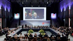 Le ministre de l'Intérieur autrichien Herbert Kickl s'exprime devant les autres ministres de l'Intérieur européens à Innsbruck, le 12 juillet 2018.