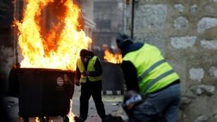 """""""Yellow vest"""" protesters in the northern French city of Rouen, where a journalist was beaten by a crowd on Saturday"""