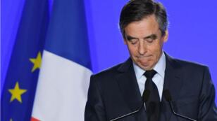 François Fillon à son QG de campagne, le 1er mars 2017.