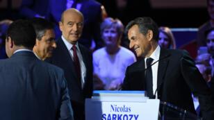 François Fillon, Alain Juppé, Nicolas Sarkozy, lors du deuxième débat de la primaire de la droite et du centre, le 3 novembre 2016.
