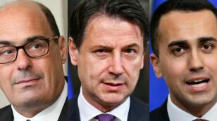 Le chef du PD Nicola Zingaretti, le président du Conseil Giuseppe Conte et le ministre du Travail Luigi Di Maio, à Rome.