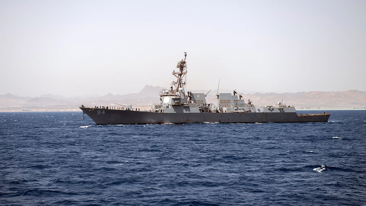 صورة وزعت في 24 حزيران/يونيو للمدمرة نيتز الأمريكية لدى مغادرتها مرفأ سفاجا في مصر في 20 تموز/يوليو 2019 بعد زيارة.