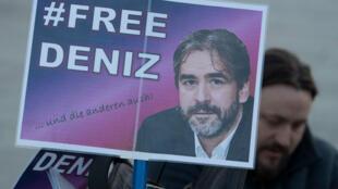 Manifestation à Berlin, le 14 février 2018, en soutien au journaliste germano-turc, Deniz Yücel, incarcéré en Turquie.