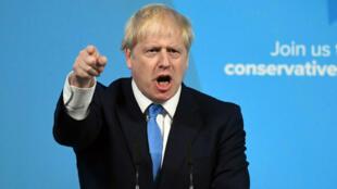 Boris Johnson se dirige a los miembros del Partido Conservador después de haber sido elegido como líder de la formación y próximo primer ministro. Londres, Reino Unido, 23 de julio de 2019.