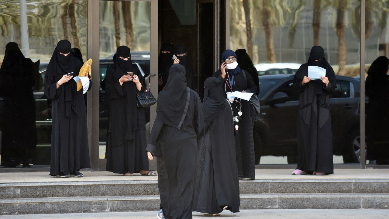 Saudi female driving trainees gather at the entrance of the Saudi Driving School (SDS) in the capital Riyadh on June 24, 2019.