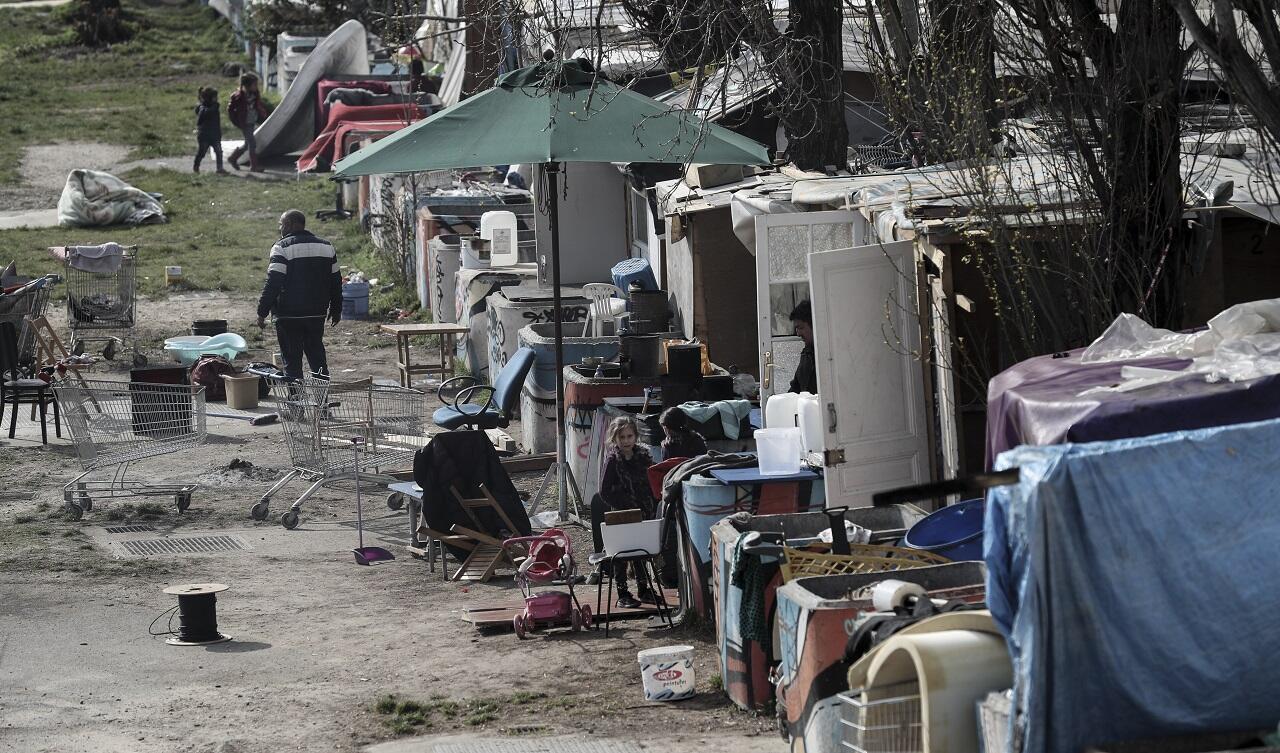 Un campement rom à Bobigny, en Seine-Saint-Denis, le 27mars2019.