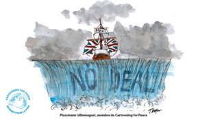 """L'inconnu du """"no deal"""" vu par le dessinateur allemand Thomas Plassmann."""