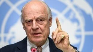 مبعوث الأمم المتحدة الخاص إلى سوريا ستافان دي ميستورا في جنيف في 30 تشرين الثاني/نوفمبر 2017