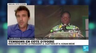 2020-11-11 18:01 Tensions en Côte d'Ivoire : rencontre Ouattara-Bédié prévue pour sortir de la crise